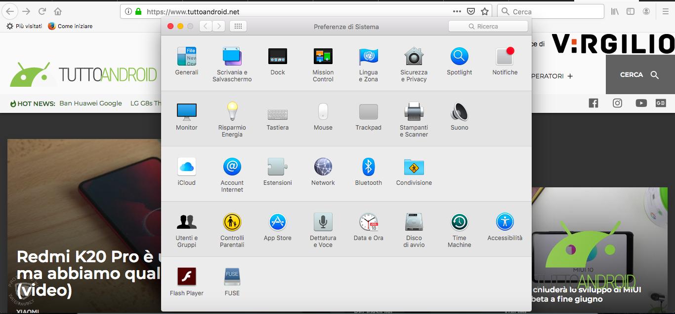 Preferenze di sistema Mac