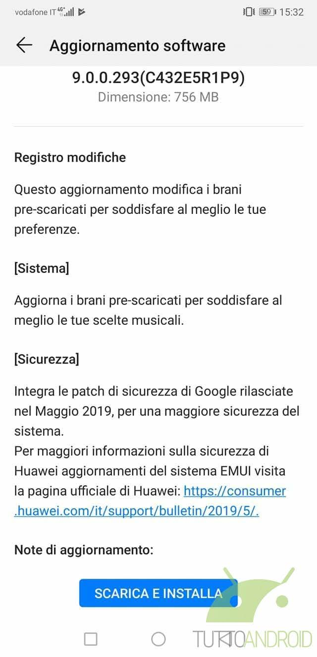 huawei p20 pro patch maggio 2019