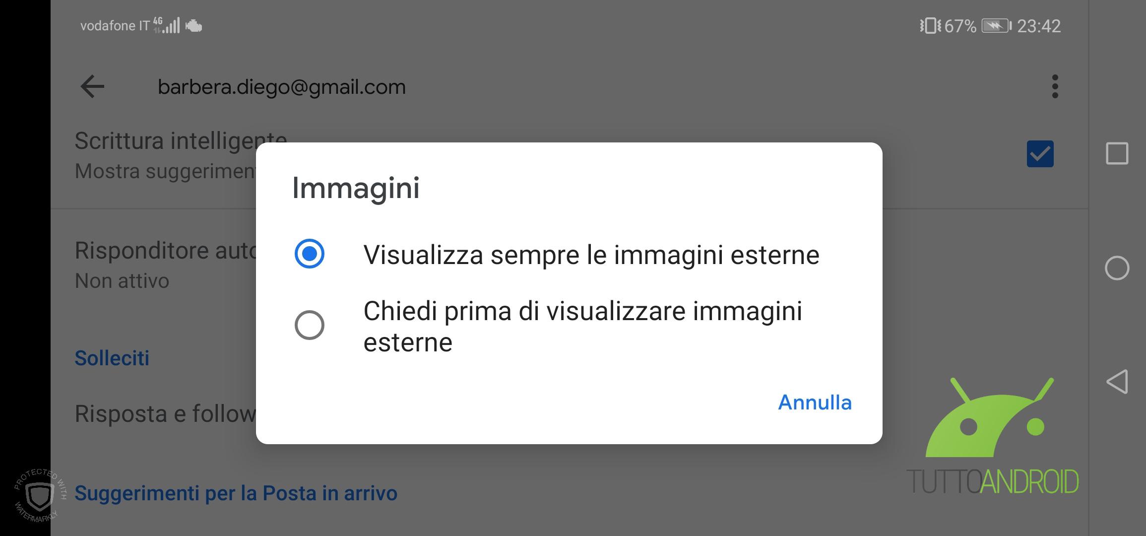 Disabilita tracciamento Gmail Android