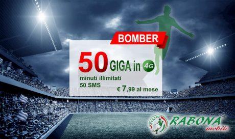 Minuti, 50 SMS e 50 Giga a 7,99 euro con l'offerta Bomber di