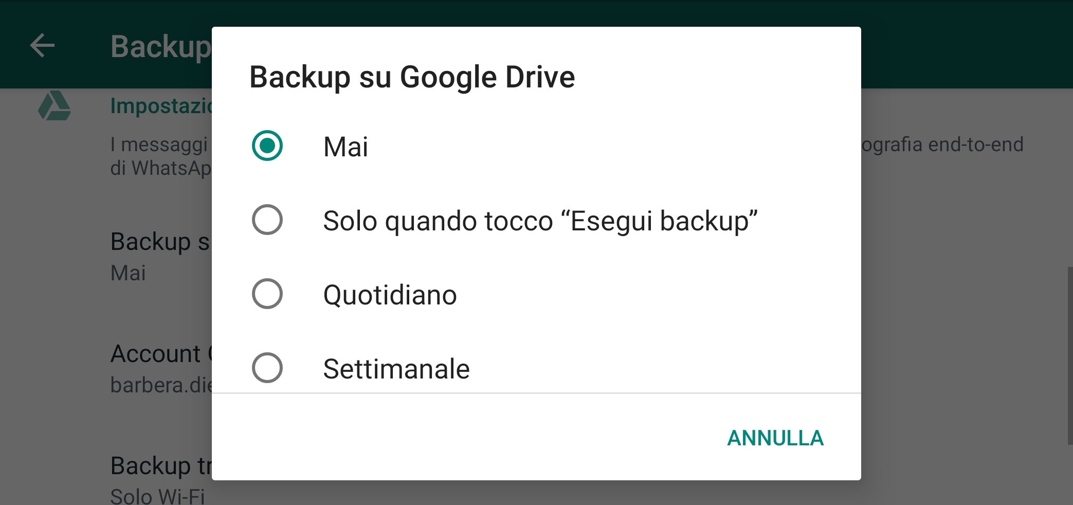 backup whatsapp importa