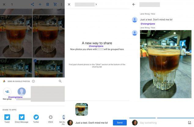 google foto chat condivisione