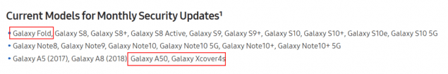 samsung galaxy a50 aggiornamenti sicurezza mensili