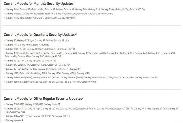 samsung smartphone aggiornamenti sicurezza mensili