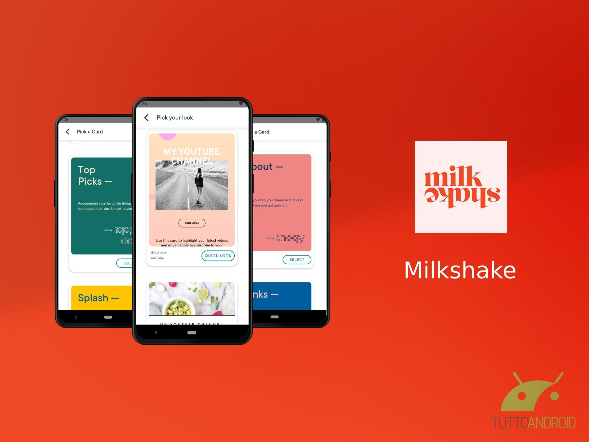 Milkshake permette di creare uno splendido sito web per Inst