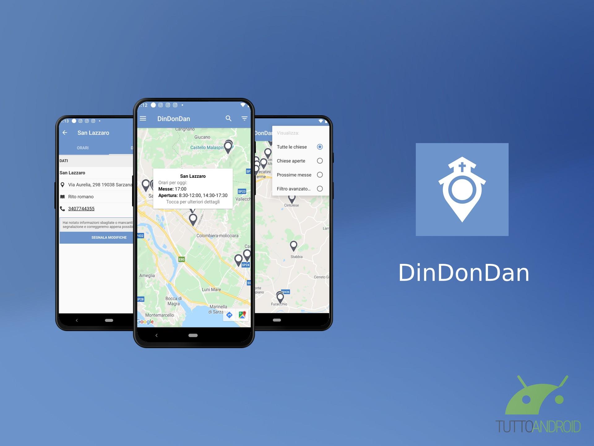 L'app DinDonDan mostra le chiese vicine a voi e gli orari de