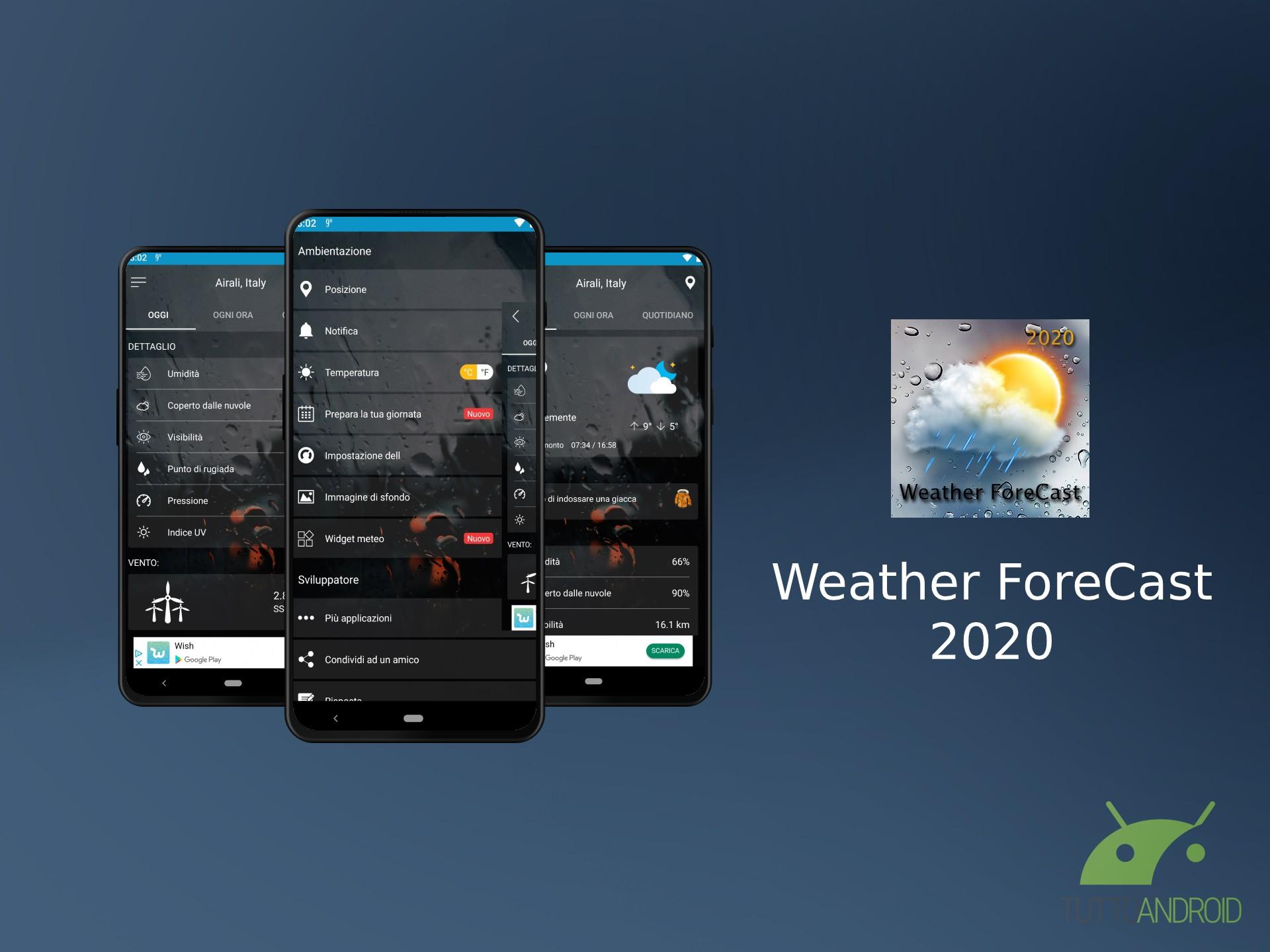 Weather ForeCast 2020 mostra le previsioni meteo con una gra