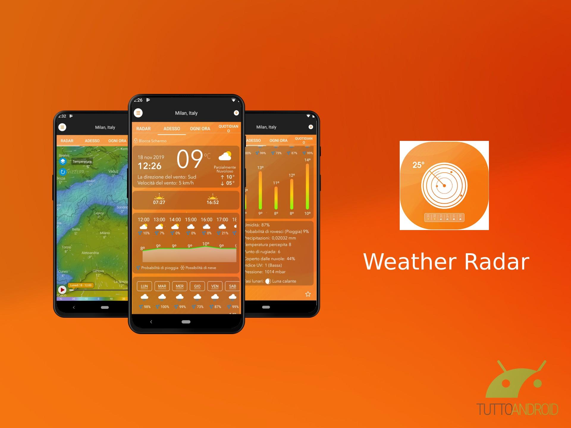 Weather Radar dà previsioni meteo dettagliate con avvisi e r