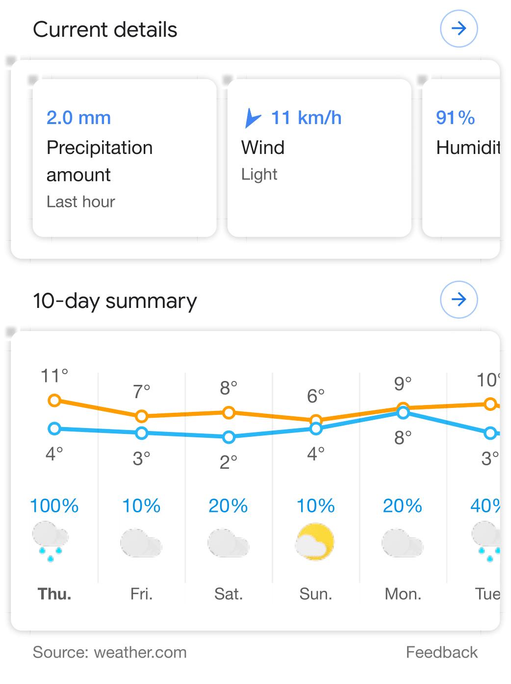 Ricerca Per Immagini Mobile google cambia look alla scheda meteo delle ricerche da