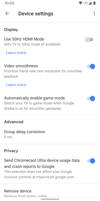 google stadia chromecast ultra game mode tv