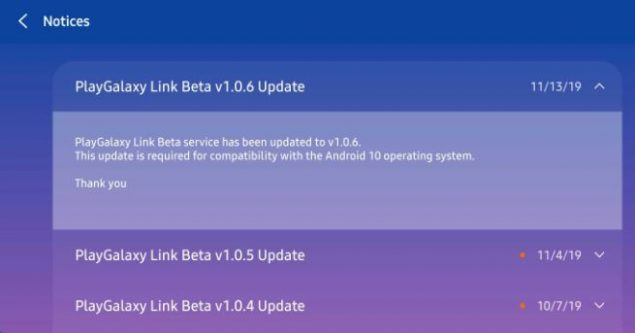 samsung playgalaxy link android 10 one ui 2.0 galaxy s10 note 10 supporto