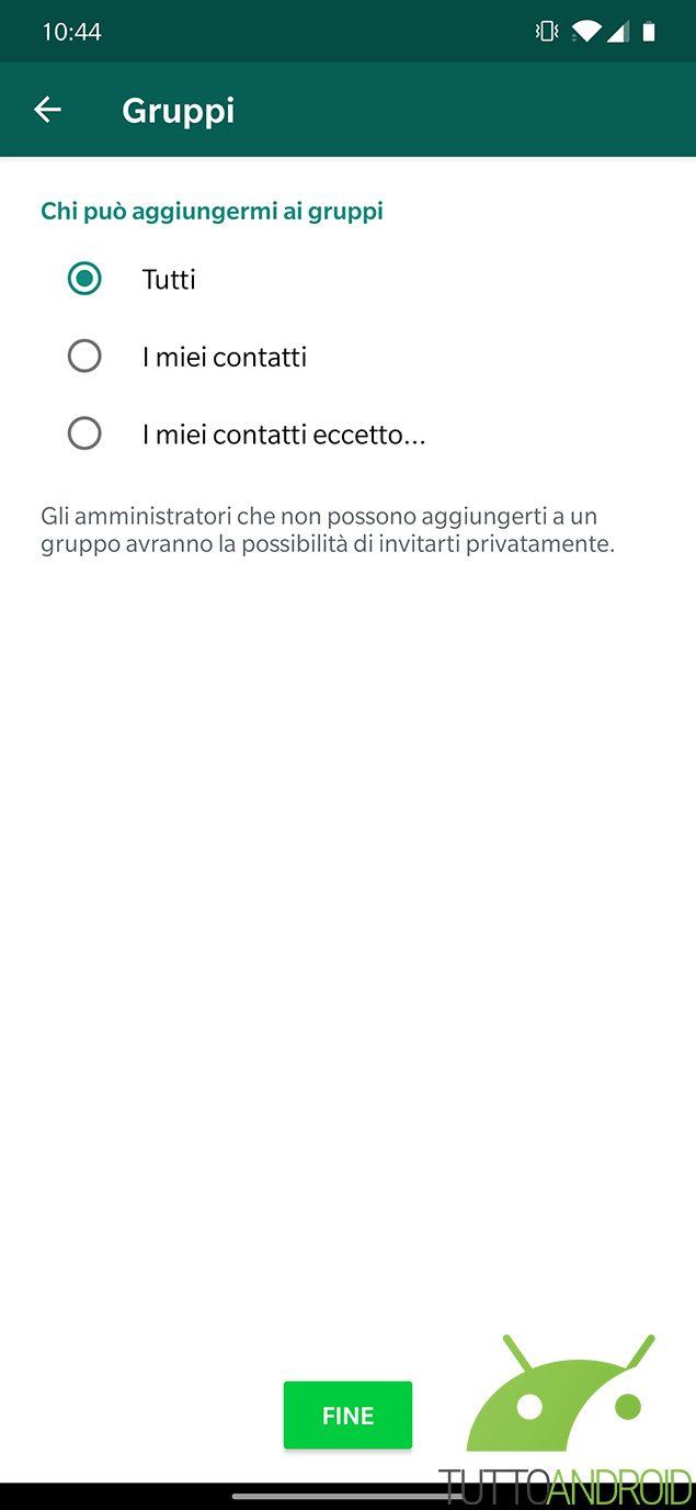 whatsapp privacy chat di gruppo aggiornamento android