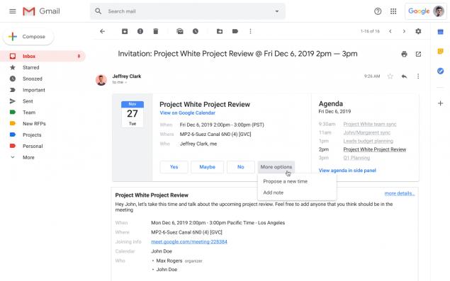 gmail inviti google calendar proponi nuova data aggiungi una nota