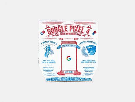 google pixel 4 pizza cartone