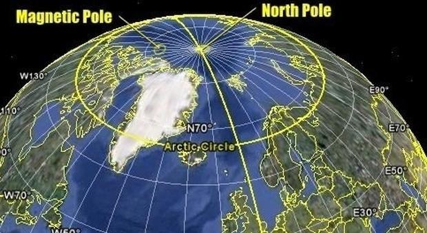 polo nord magnetico spostamento smartphone gps