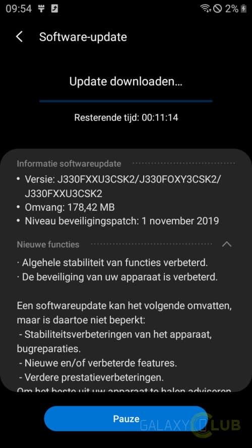 Galaxy J3 patch novembre