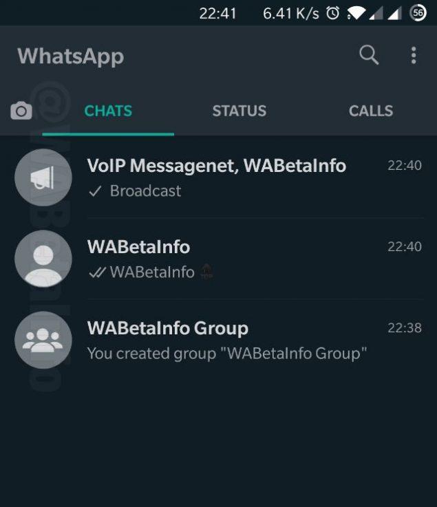 whatsapp beta avatar nuovo design chiamata vocale modalità scura
