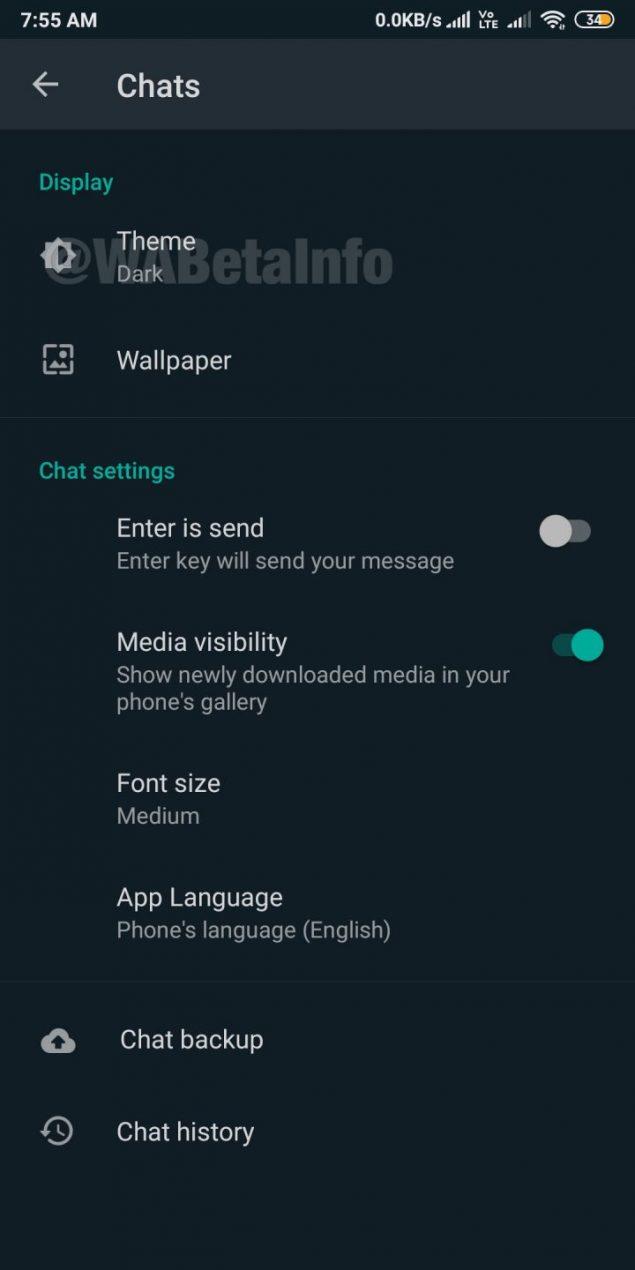 whatsapp beta nuove skin wallpaper opzione modalità scura