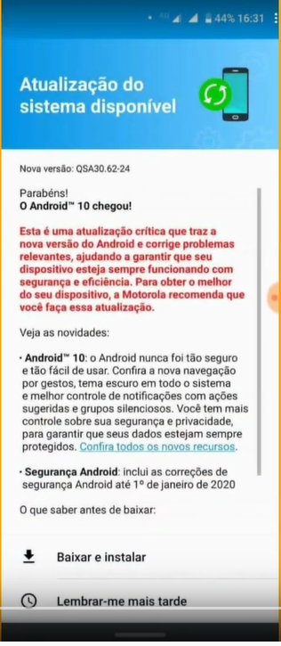 aggiornamento software Android 10 per Motorola One Vision