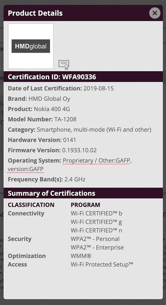 nokia 400 4g wifi alliance
