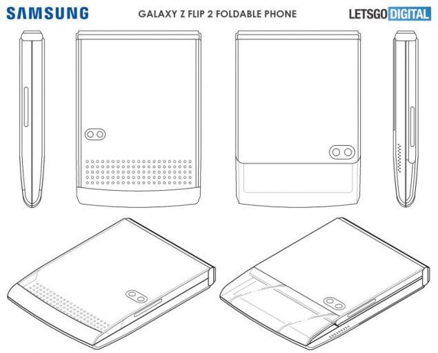 samsung galaxy z flip cover trasparente sensibile tocco brevetto