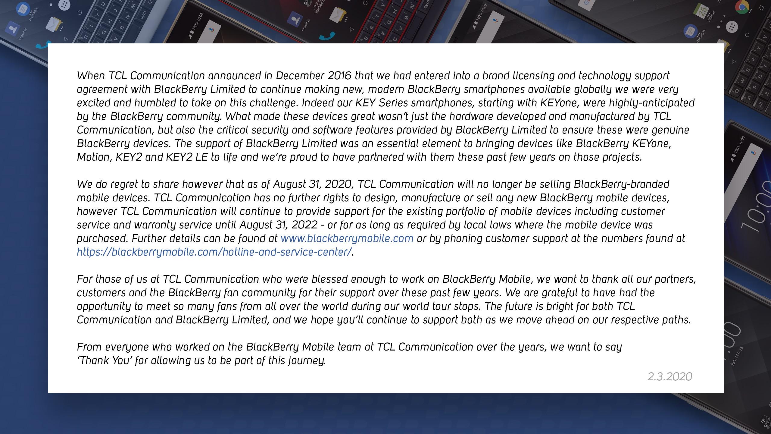 BlackBerry annuncia la fine degli accordi con TCL