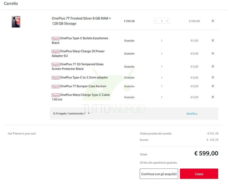 bundle accessori OnePlus 7T in regalo