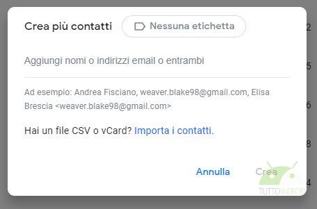 Google contatti crea più contatti