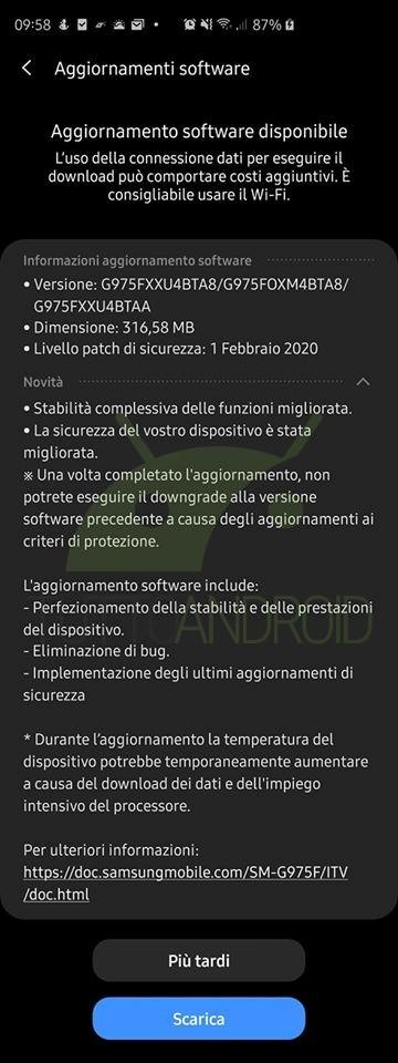 aggiornamento Samsung Galaxy S10, S10+ e S10e con patch di sicurezza di febbraio 2020