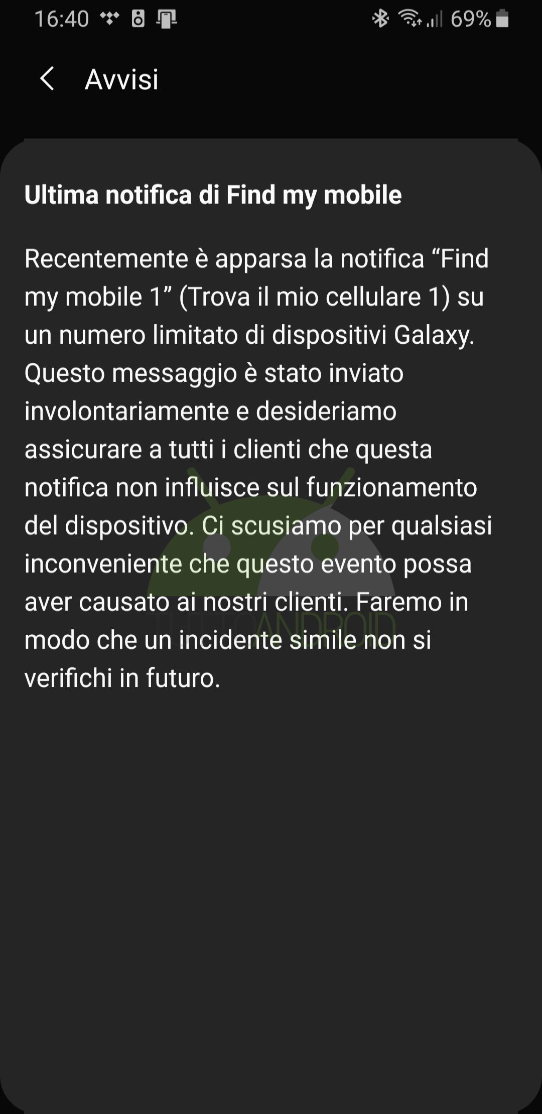 avviso notifica Samsung