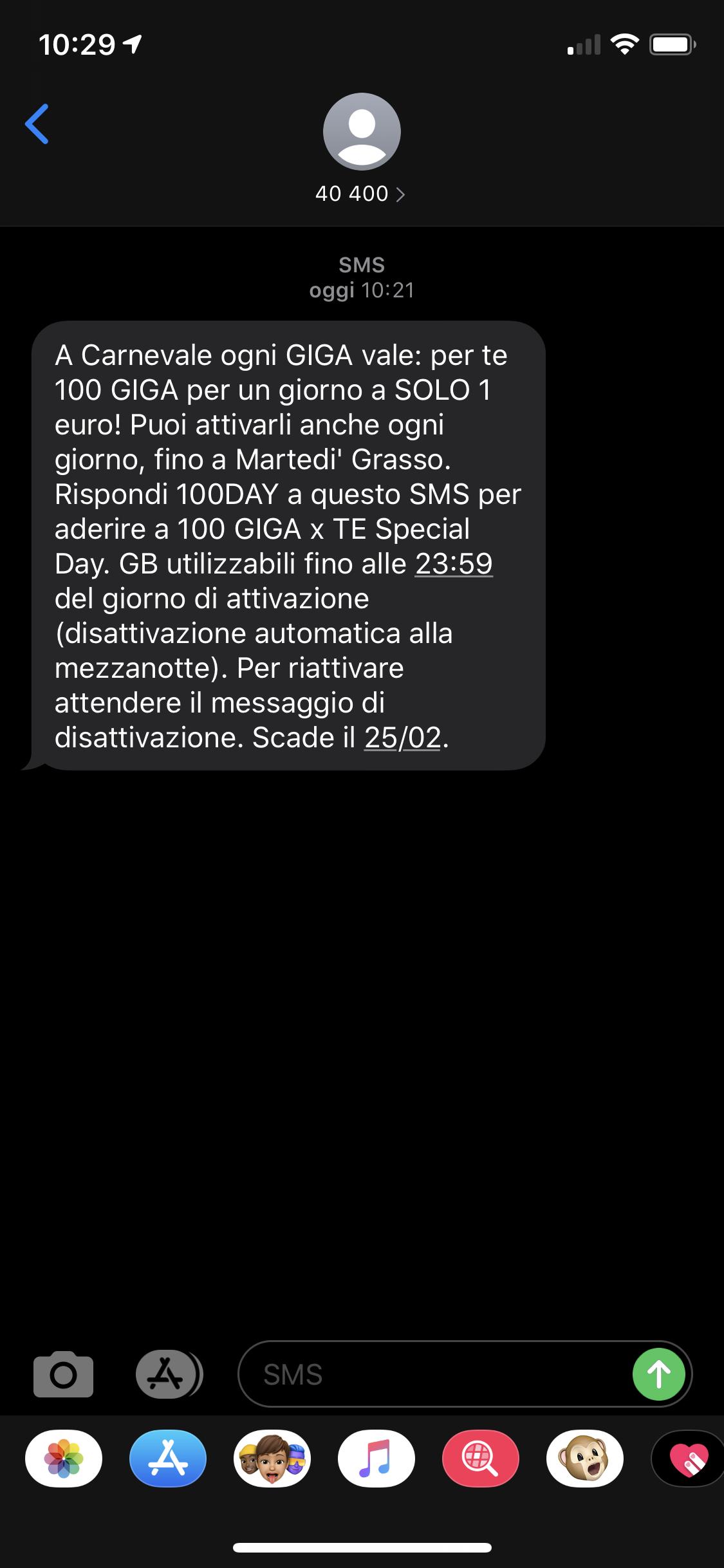 testo SMS offerta Wind 100 GIGA per Te