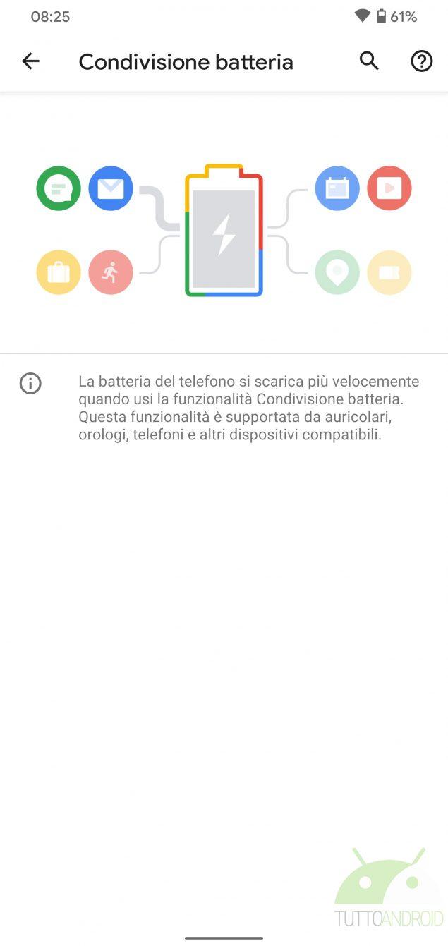 android 11 condivisione batteria menu