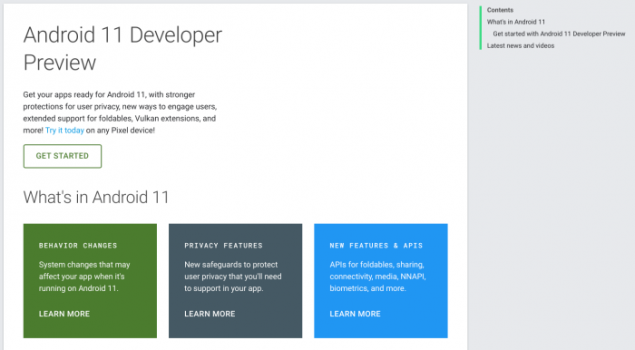 android 11 developer preview portale web