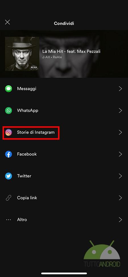 condivisione su instagram storie
