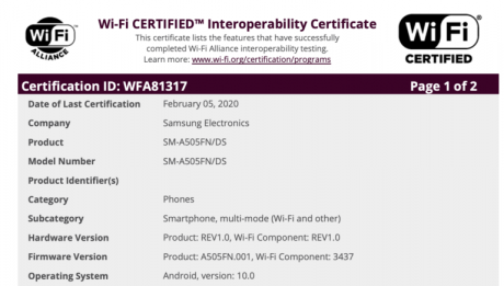 samsung-galaxy-a50-android-10-certification