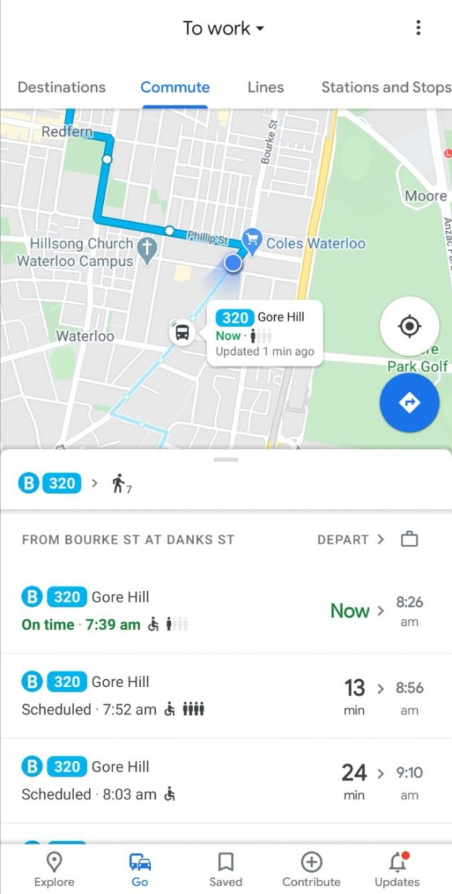 google maps go tab roll out
