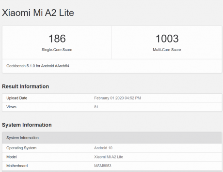 mi a2 lite android 10 geekbench