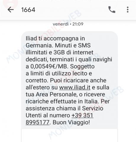 Iliad SMS roaming UE