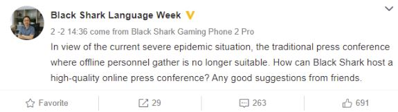 xiaomi mi 10 black shark 3 evento online coronavirus