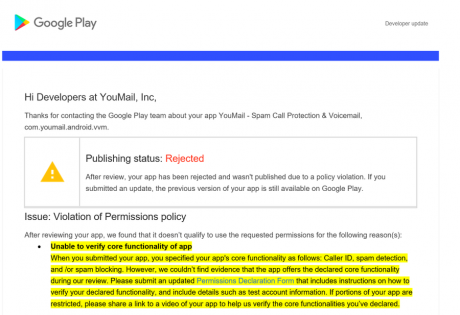 youmail play store rimozione