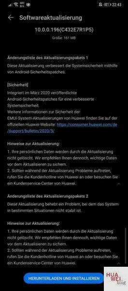huawei mate 20 pro aggiornamento patch di sicurezza di marzo 2020