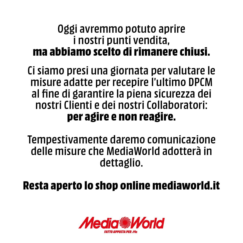 MediaWorld coronavirus