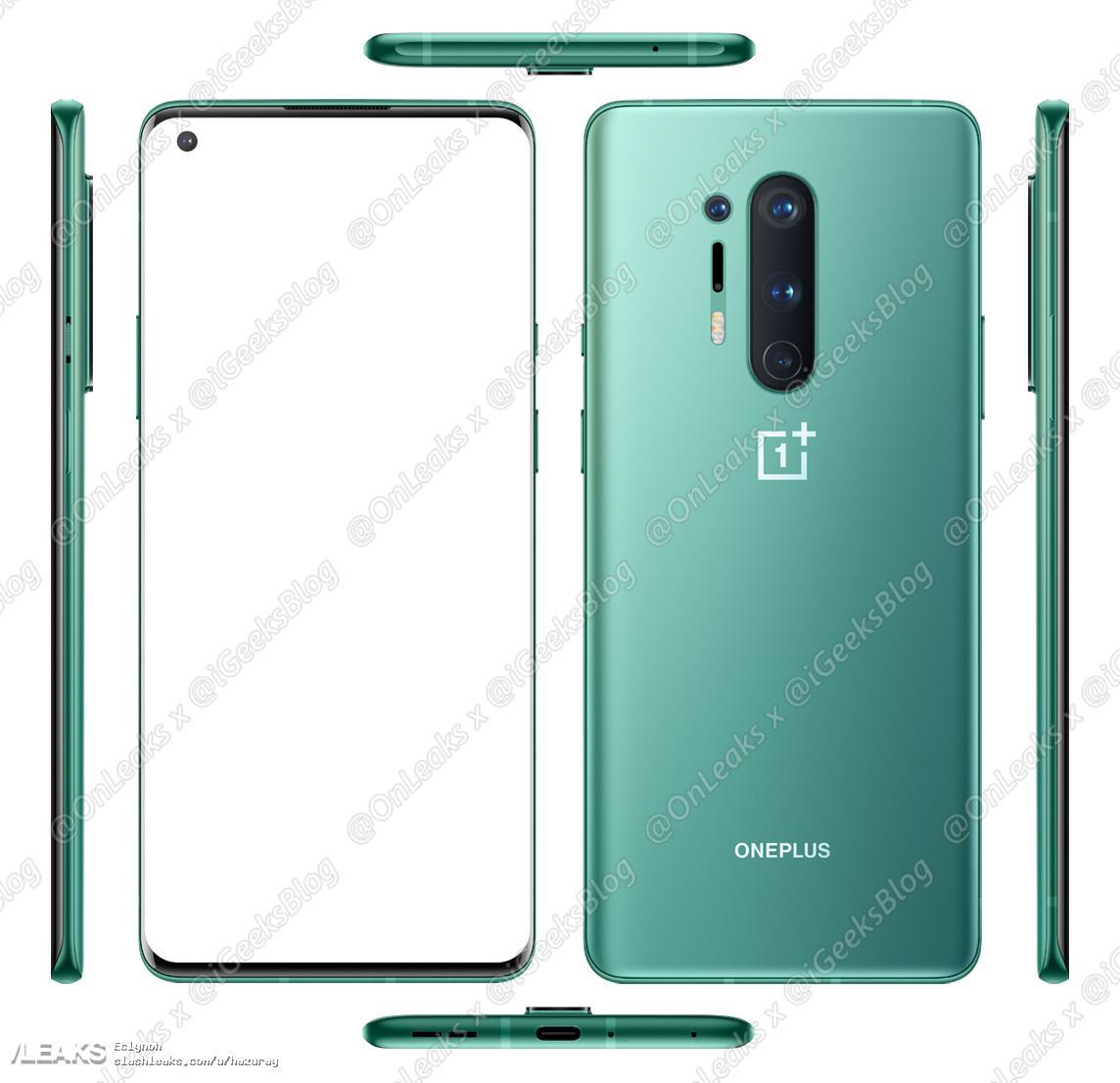 render OnePlus 8 Pro verde