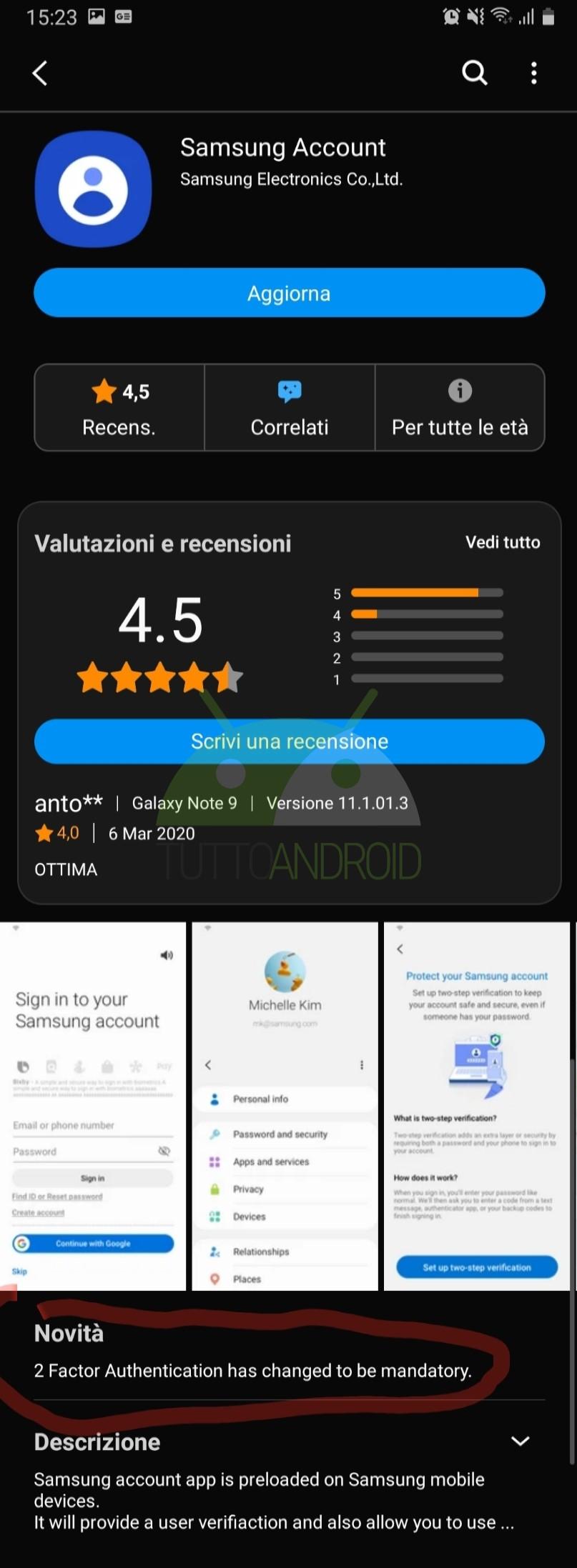 Samsung Account autenticazione a due fattori