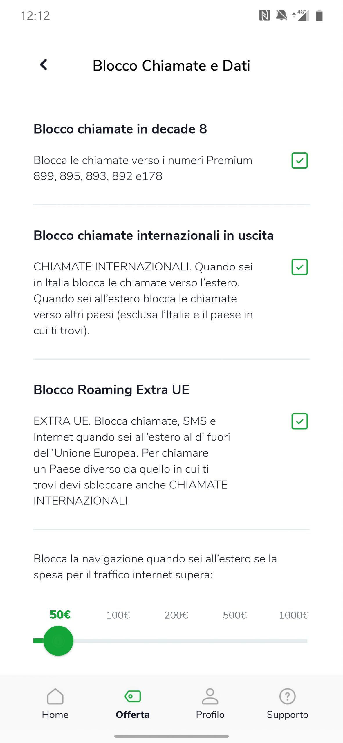 Very Mobile opzioni Blocco