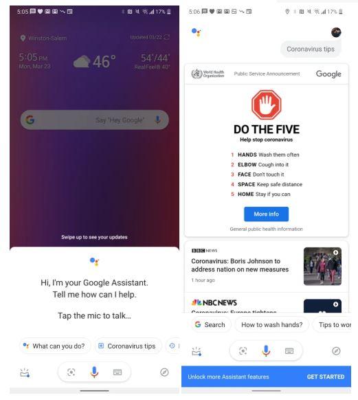 Google Assistant Coronavirus