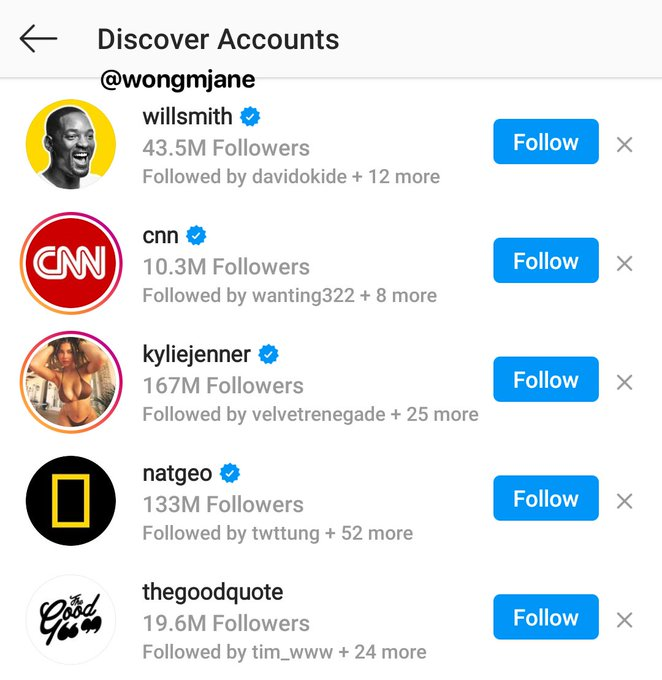 Instagram Discover Accounts