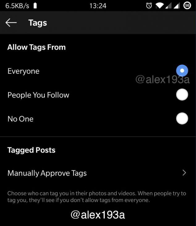 instagram privacy tag opzione