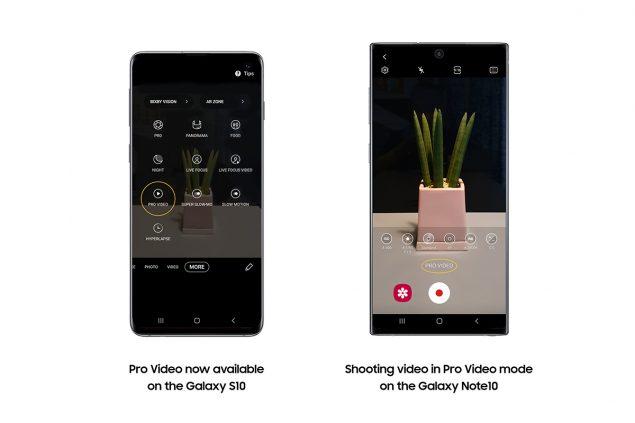 samsung galaxy s10 note 10 single take galleria intelligente quick share aggiornamento