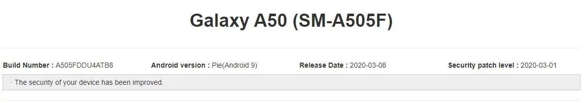 Samsung Galaxy A50 aggiornamento patch di sicurezza marzo 2020